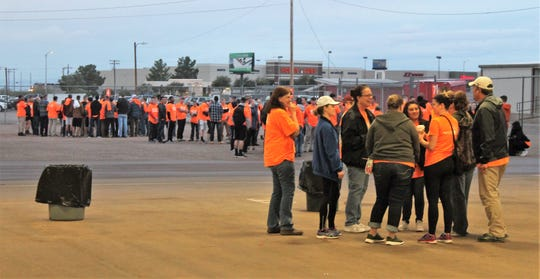 This year, volunteers tended to approximately 150 jobs and donated around $78,000-worth of man hours, said Thrive's Director Linda Elliot. Shown here are volunteers preparing to disembark from the Otero County Fairgrounds.