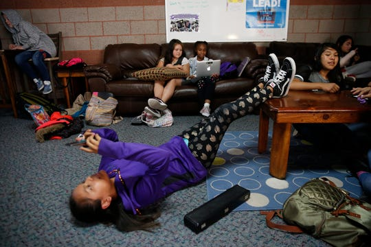 Krystal Tso, 11, relaxes inside the Teen Zone Frida at the Boys & Girls Clubs of Farmington.
