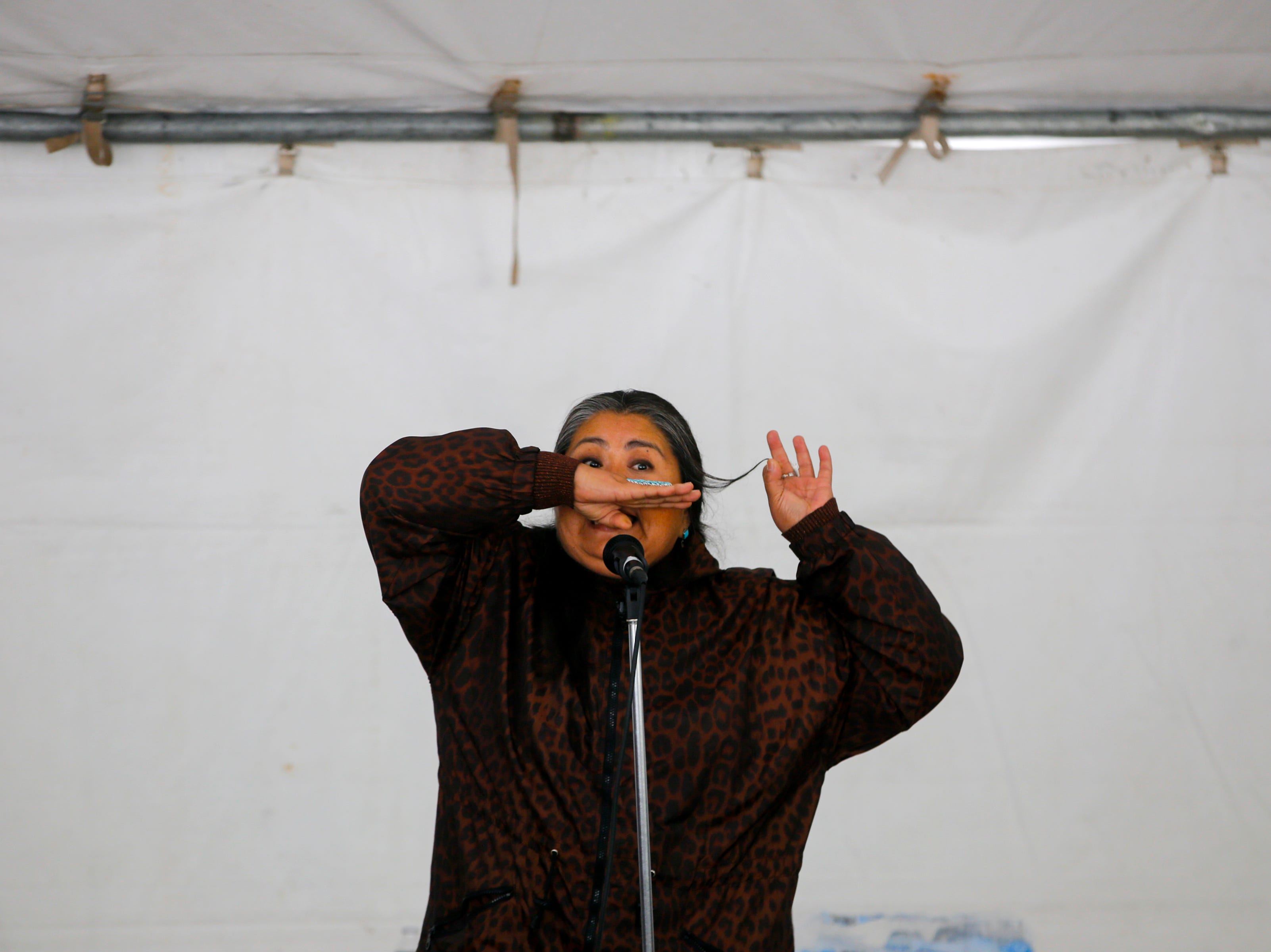 Storyteller Sunny Dooley from Chichiltah Chapter tells a story, Friday, Oct. 12, 2018 during the annual Four Corners Storytelling Festival at Berg Park in Farmington.