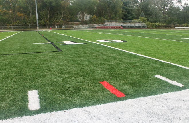 The eight-yard line on both sides of the field are blazed in red, a nod to Clarenceville alumnus and former NFL player Tim Shaw, who wore the no. 8.