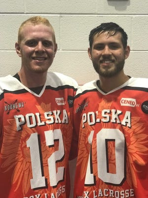 Ian Rush (left) and Brendan Daschke, both members of Madonna University's men's lacrosse team, participated last month with the Polish Developmental Team at a box lacrosse tournament in upstate New York. (SUBMITTED PHOTO)