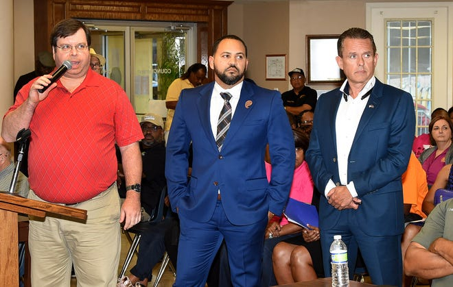 Joseph Bristow, chief technology officer for Agra Tech, addressed the Board of Aldermen last week.