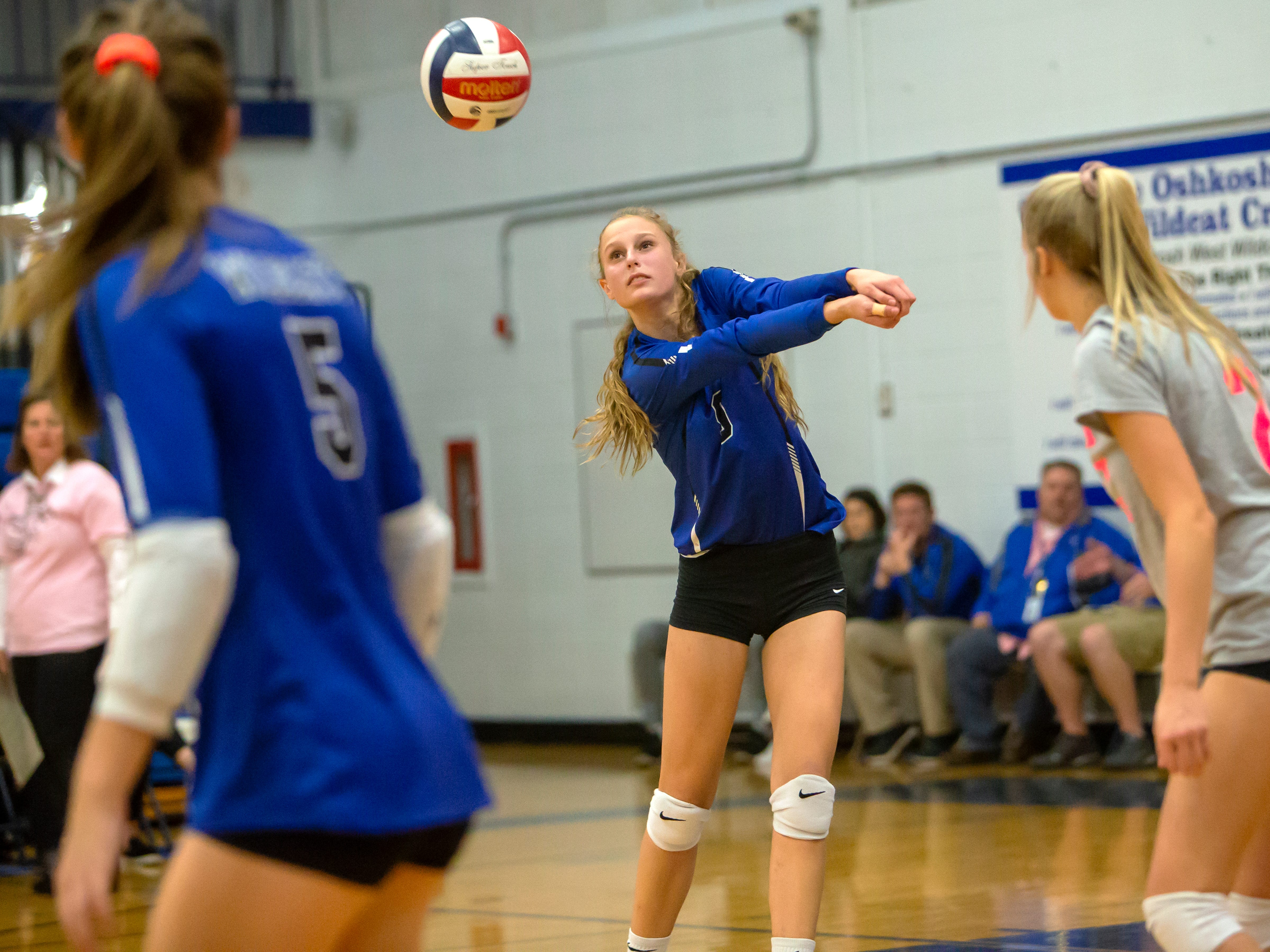 Oshkosh West's Eva Beeth takes the shot playing at Oshkosh West High School on Thursday, October 11, 2018.