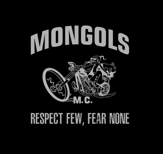 "Mongols logo with the motto ""Respect few, fear none."""