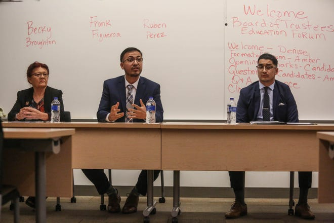 Candidates for the College of the Desert board election (from left) Becky Broughton, Frank Figueroa and Ruben Perez speak at the COD Candidate forum on Thursday, Oct. 11, 2018, at the Indio campus.
