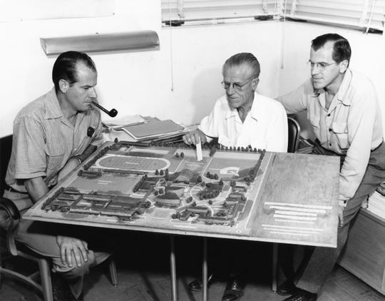 E. Stewart Williams, Harry Williams and Roger Williams working on a model of Palm Springs High School c. 1958