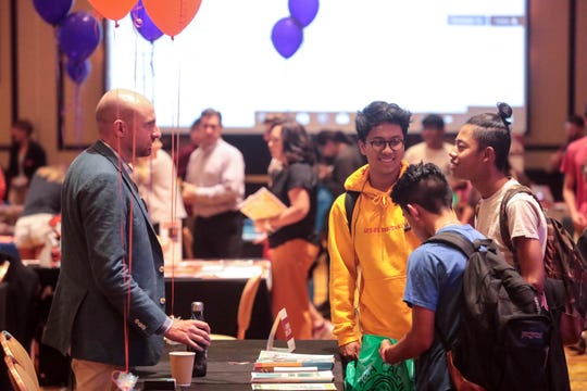 High school students and their parents attend the Coachella Valley regional college and career fair at the Agua Caliente Resort and Spa in Rancho Mirage on Thursday, October 11, 2018.