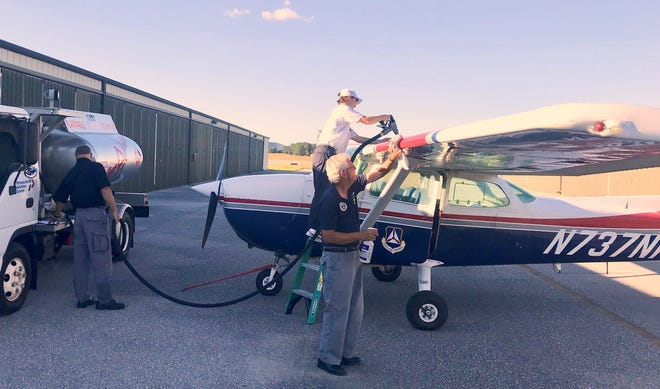 One of two aircraft flown Thursday, Oct. 11, 2018, in disaster relief missions by Civil Air Patrol's Florida Wing gets refueled.