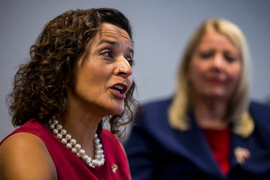Dr. Hiral Tipirneni speaks during an editorial board meeting on Thursday, Oct. 11, 2018, at The Arizona Republic in Phoenix.