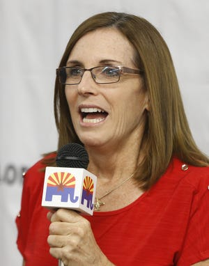 Martha McSally speaks during a campaign rally at Arizona Republican Party headquarters in Phoenix on Oct. 6, 2018.