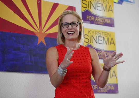 Democrat Kyrsten Sinema thanks volunteers at her field office in Phoenix on Aug. 28, 2018. Sinema is vying for the open U.S. Senate seat.