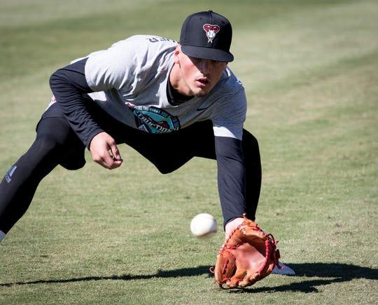 Blaze Alexander fields a ball during fall Instructional League, October 9, 2018, at Salt River Fields at Talking Stick.