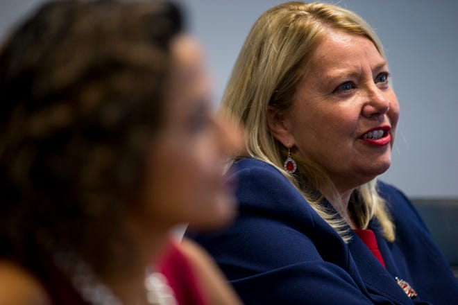Rep. Debbie Lesko speaks during an editorial board meeting on Thursday, Oct. 11, 2018, at The Arizona Republic in Phoenix.