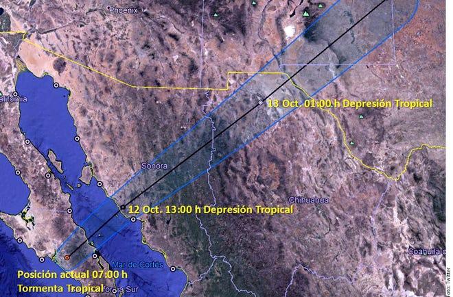 """De acuerdo con el reporte, la tormenta tropical """"Sergio"""" se ubica a 75 kilómetros al este de Punta Abreojos y a 75 kilómetros al suroeste de Santa Rosalía."""