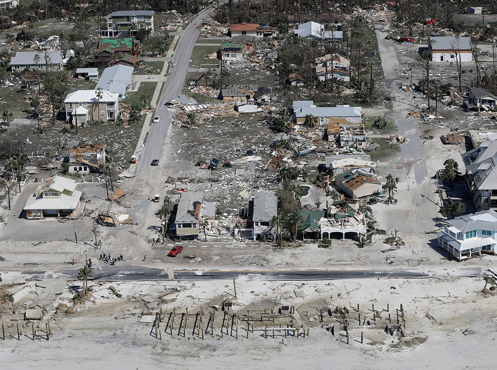 Las casas destruidas por el huracán Michael se muestran en esta foto aérea el 11 de octubre de 2018, en Mexico Beach, Florida. El huracán golpeó con vientos de categoría 4 que causaron daños mayores.