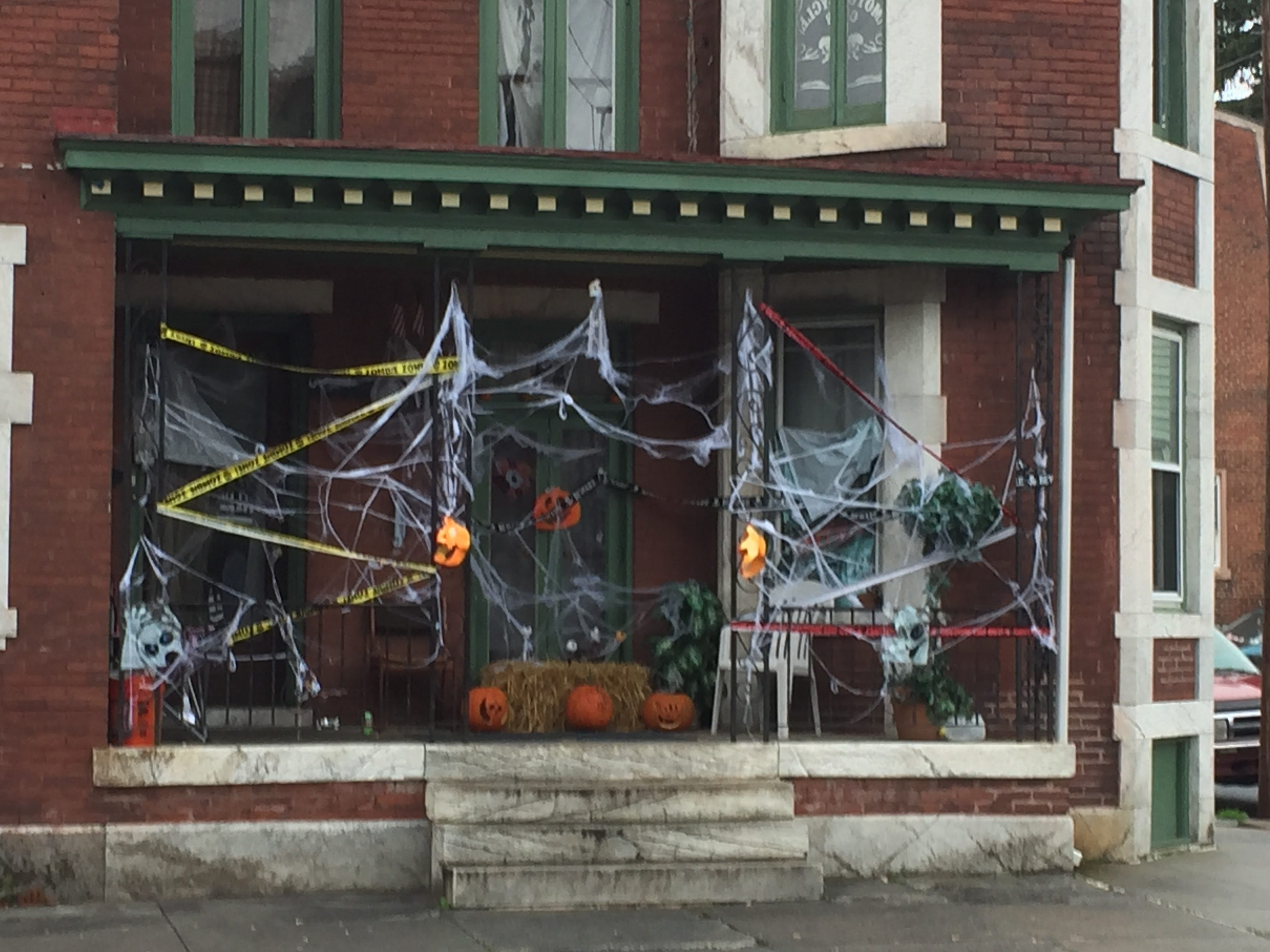 Don't get tangled up in the webs at this North Eighth Street row in Lebanon, complete with police-style tape.