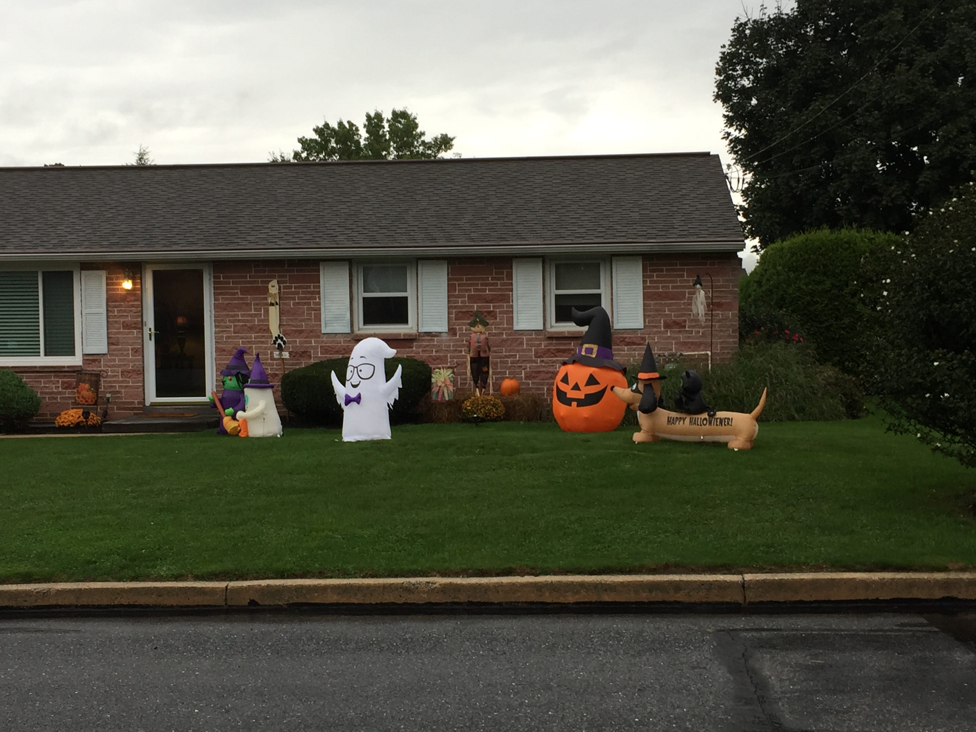 A bunch of welcoming ghouls -- and an inflatable dog with a black cat on his back -- await trick-or-treaters on Willow Lane in Lebanon.