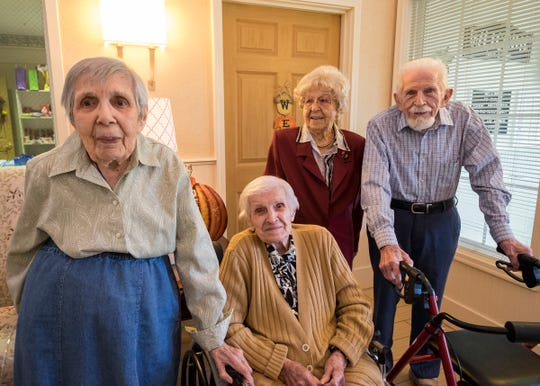 From left: Ann Tompert, 100; Anna Goloda, 104; Deloris Fijak, 101 and Eugene Grewe, 99. Grewe, who turns 100 on Oct. 18, will be one of four centenarians who lives at the Sanctuary at Mercy Village in Fort Gratiot.