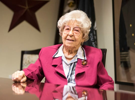 Deloris Fijak, 101, speaks during an interview Friday, Oct. 12, 2018 at Sanctuary at Mercy Village.
