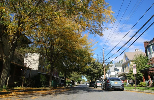 Colorful trees and fallen leaves decorate Garden Street in the City of Poughkeepsie on Friday. The region has encountered seasonably cool temperatures as of late.