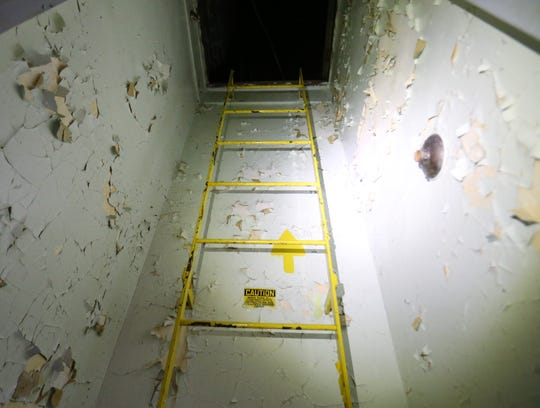 The stairway to the attic of the 1930s era dormitory at the Beacon Correctional Facility on October 11, 2018.