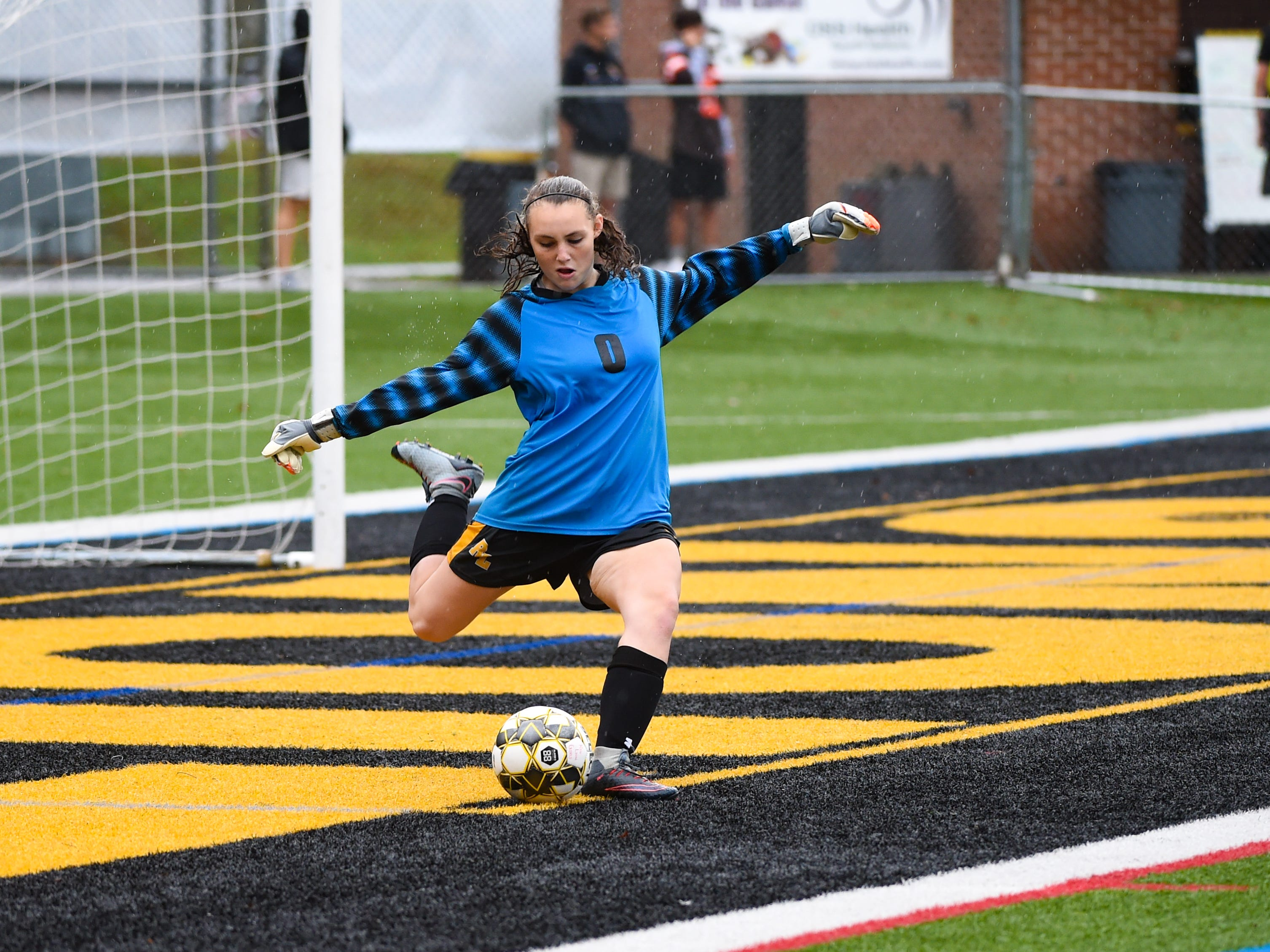 Kylyn McIntire (0) of Red Lion takes the goal kick during the girls soccer game, October 11, 2018. The Lady Lions beat the Wildcats 4-0.