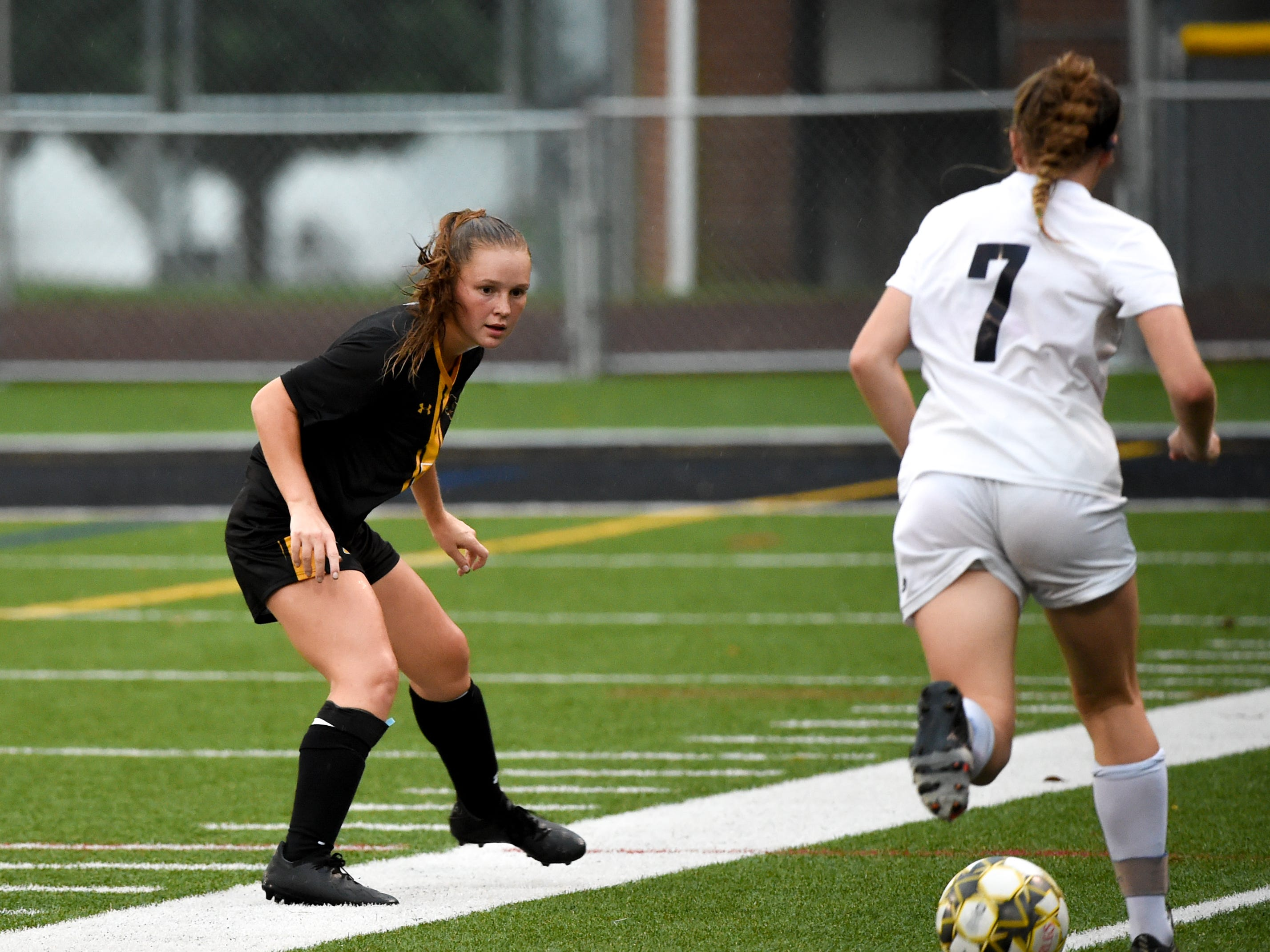 Red Lion's Emily Tollinger (5) looks for a chance to make a tackle, October 11, 2018. The Lady Lions beat the Wildcats 4-0.