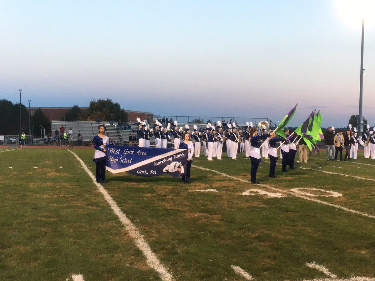 West York's band performs as the homecoming court is announced Friday.