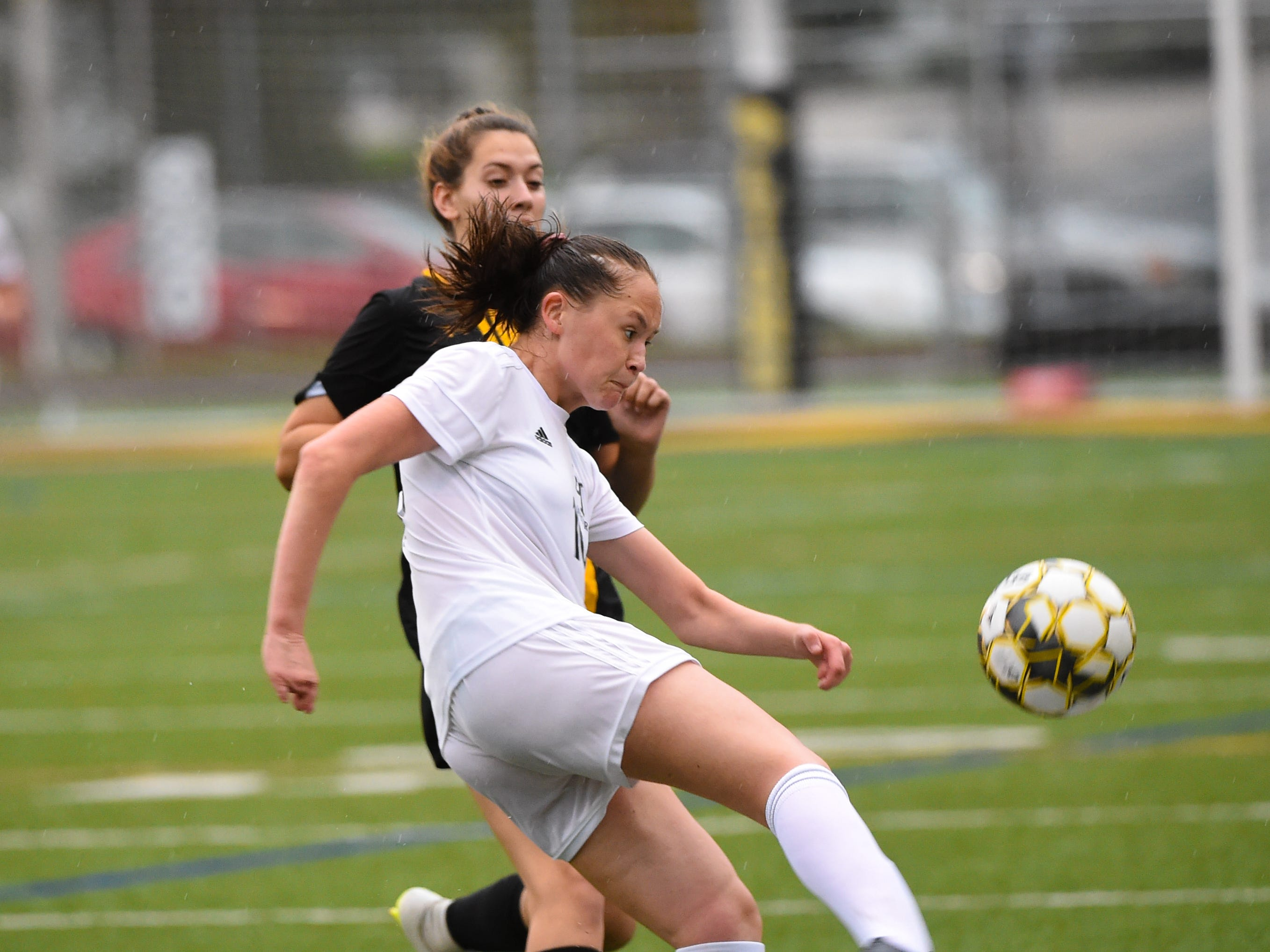 Lydia Jones (16) puts power behind her kick during the girls soccer game between Red Lion and Dallastown, October 11, 2018. The Lady Lions beat the Wildcats 4-0.