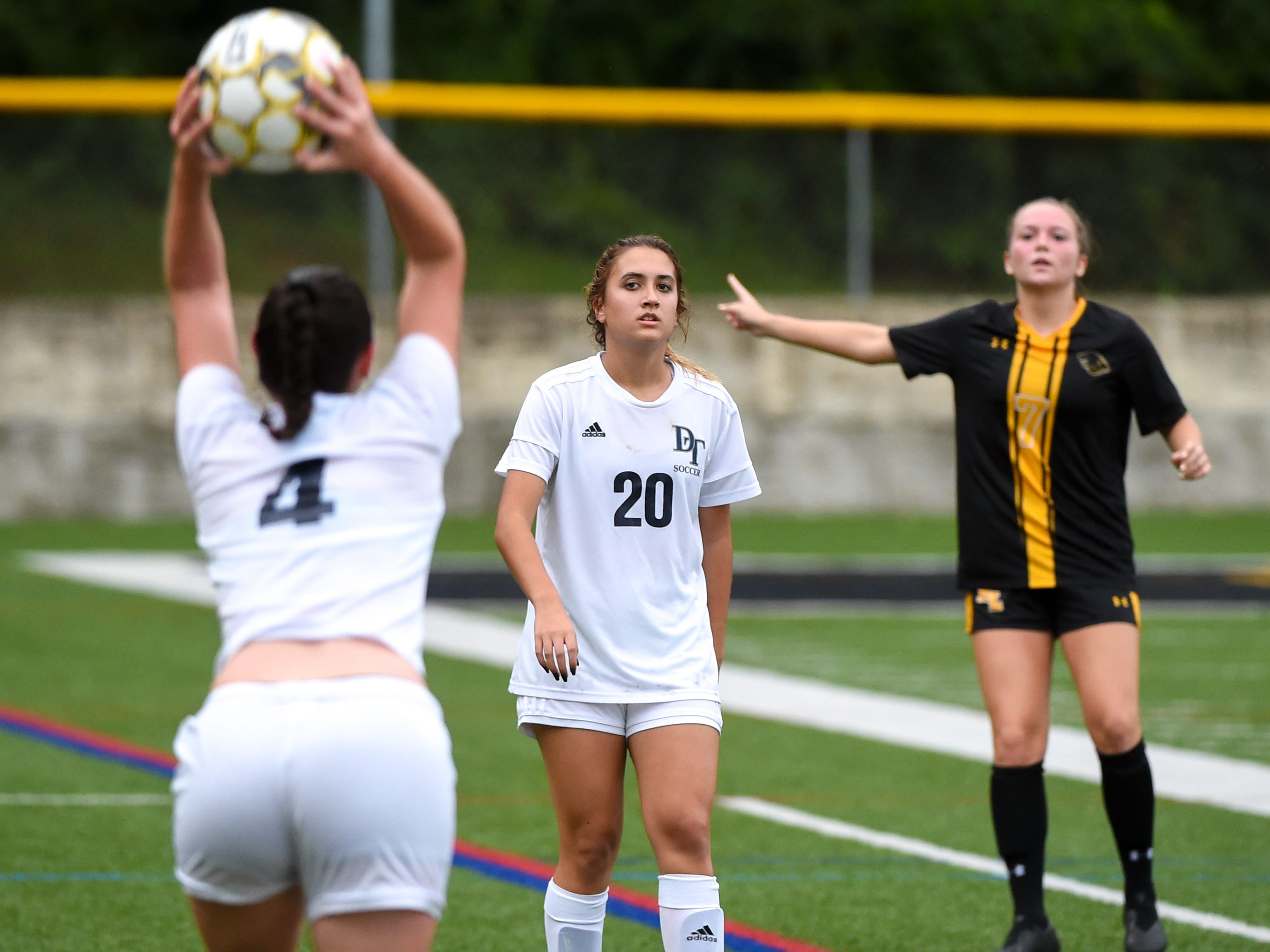Jordan Lese (20) of Dallastown prepares to receive the throw in during the girls soccer game between Red Lion and Dallastown, October 11, 2018. The Lady Lions beat the Wildcats 4-0.