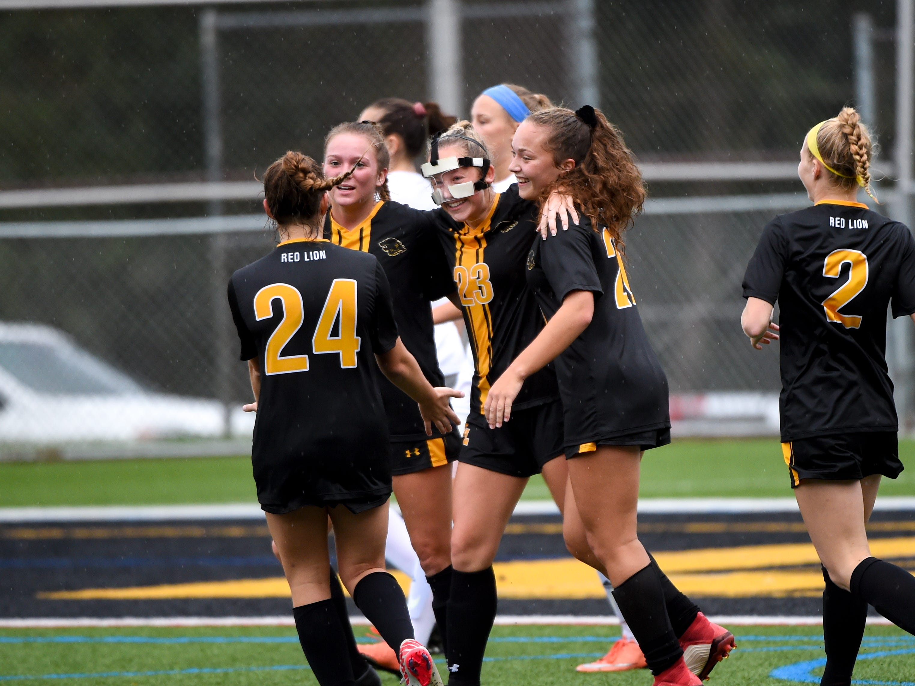 Red Lion celebrates after scoring a goal against Dallastown, October 11, 2018. The Lady Lions beat the Wildcats 4-0.