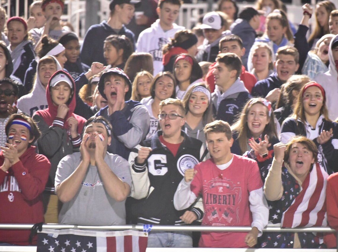 The Chambersburg student section gets ready for Friday's game against Harrisburg.
