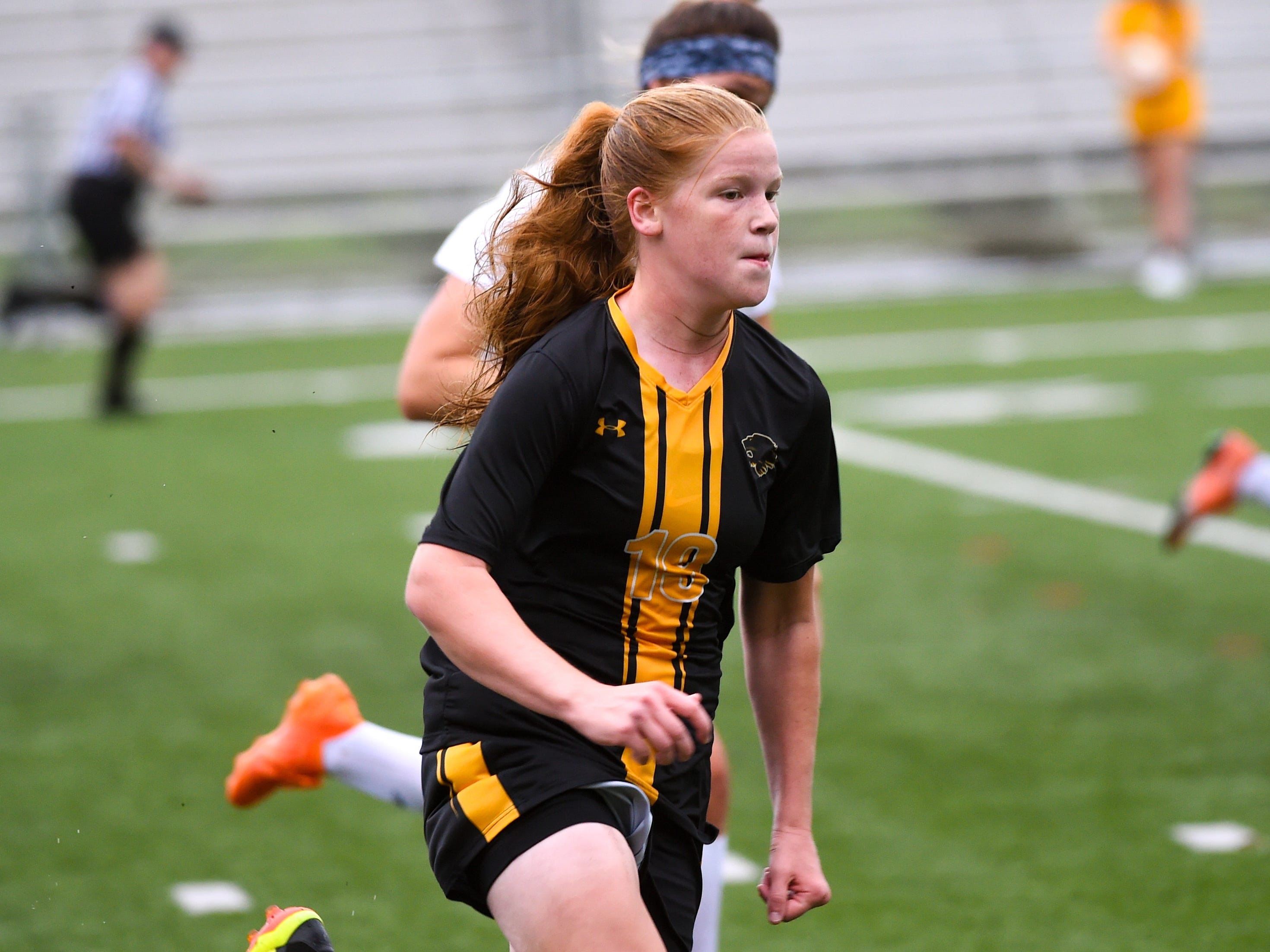 Anna Gatchell (19) of Red Lion chases down the ball, October 11, 2018. The Lady Lions beat the Wildcats 4-0.