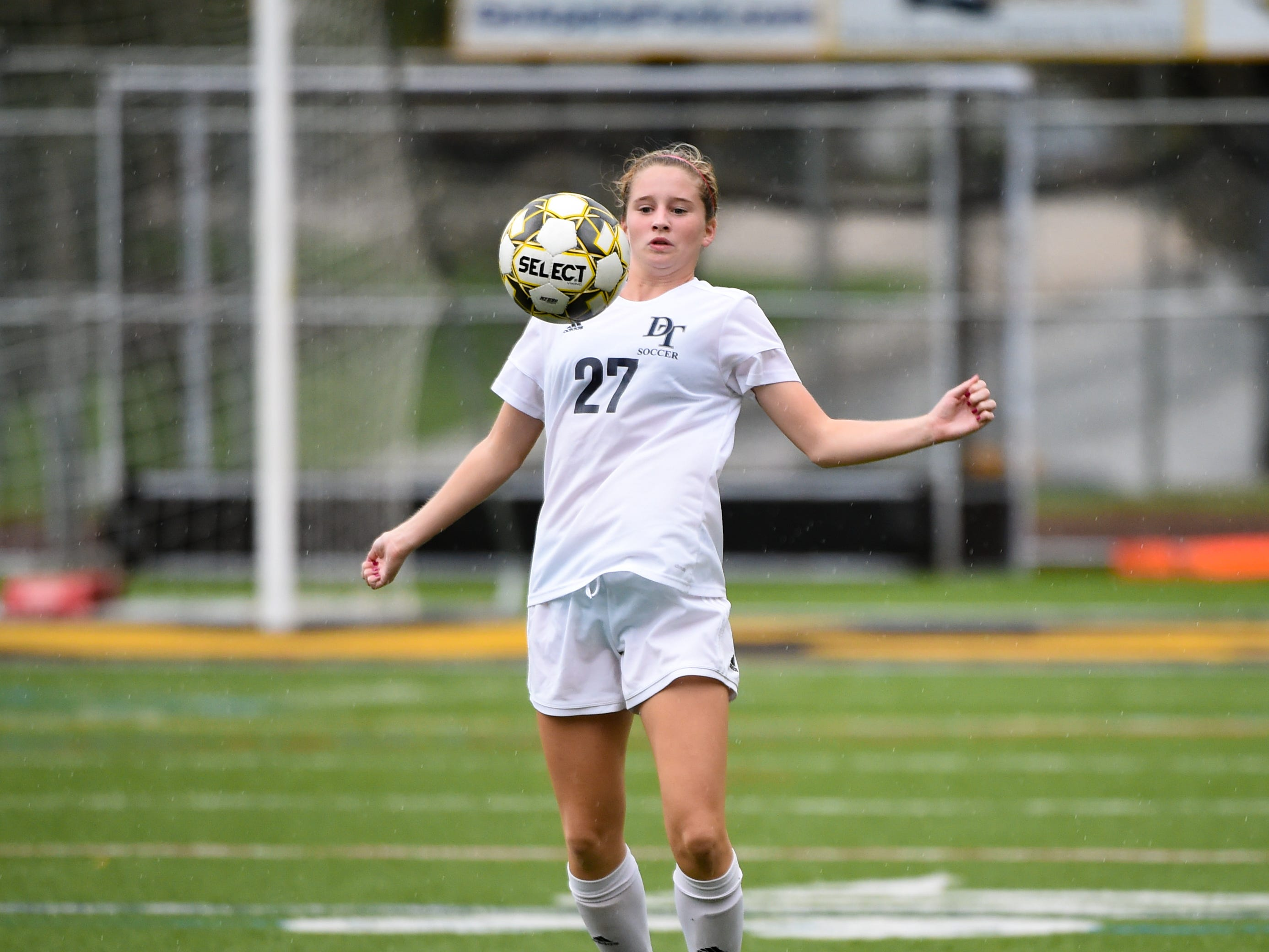 Myra Striebig (27) of Dallastown controls the ball during the girls soccer game between Red Lion and Dallastown, October 11, 2018. The Lady Lions beat the Wildcats 4-0.