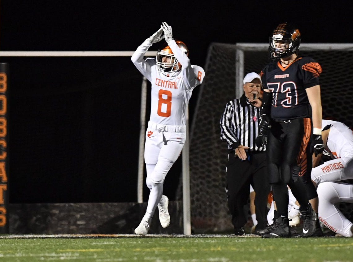 Central York defenseman Mason Myers (8) celebrates a safety. The Panthers lead Northeaster 16-0.