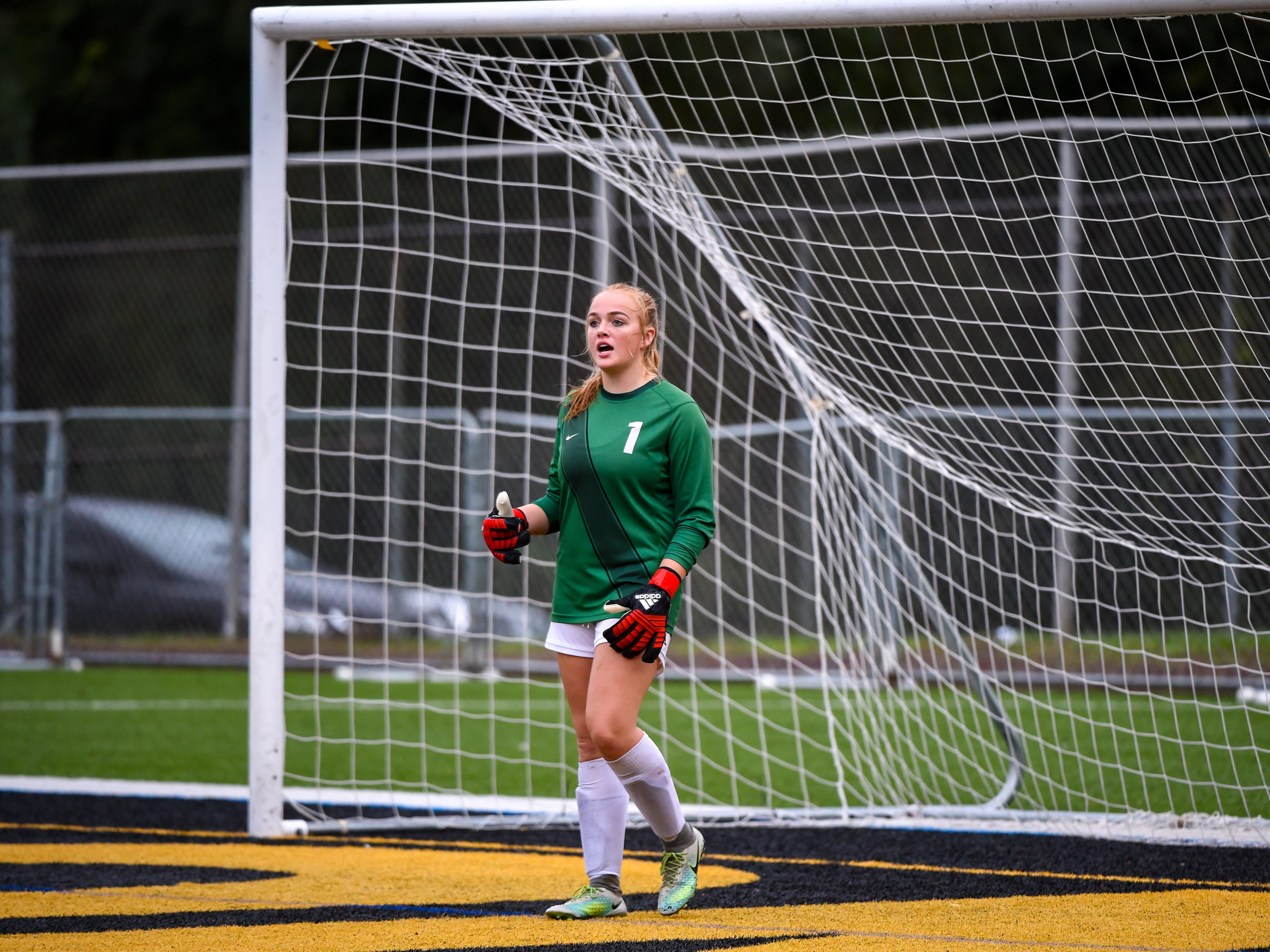 Dallastown's Ashley Wakeling (1) communicates with her teammates during the girls soccer game between Red Lion and Dallastown, October 11, 2018. The Lady Lions beat the Wildcats 4-0.