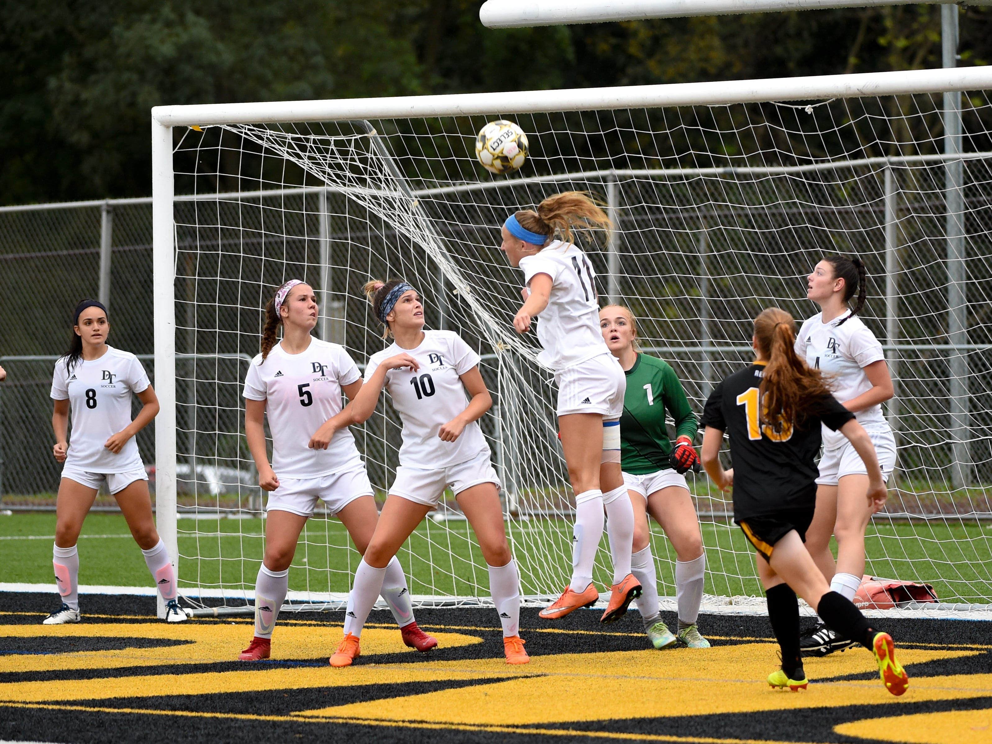 Dallastown heads the ball out of their box, October 11, 2018. The Lady Lions beat the Wildcats 4-0.