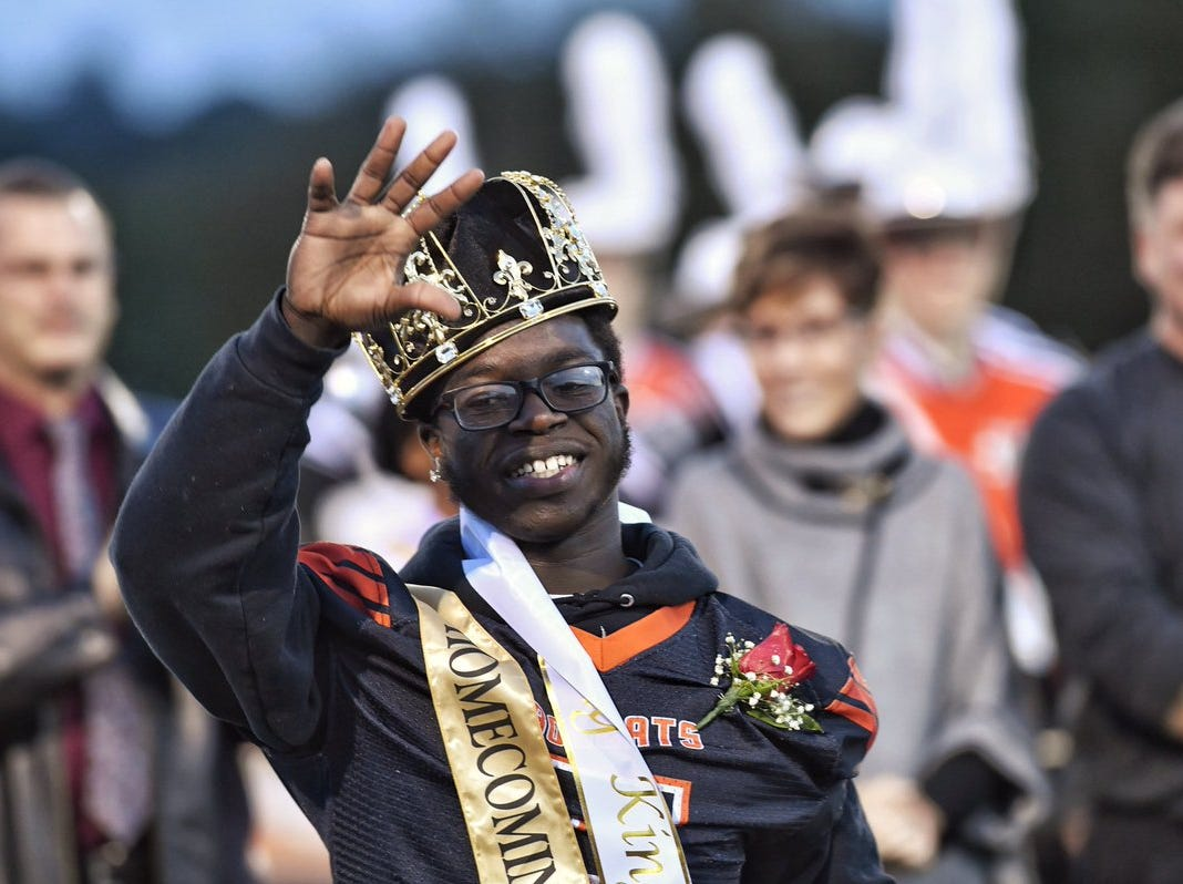 Frank Brown was named Northeastern homecoming king before the Bobcats' game against Central York.