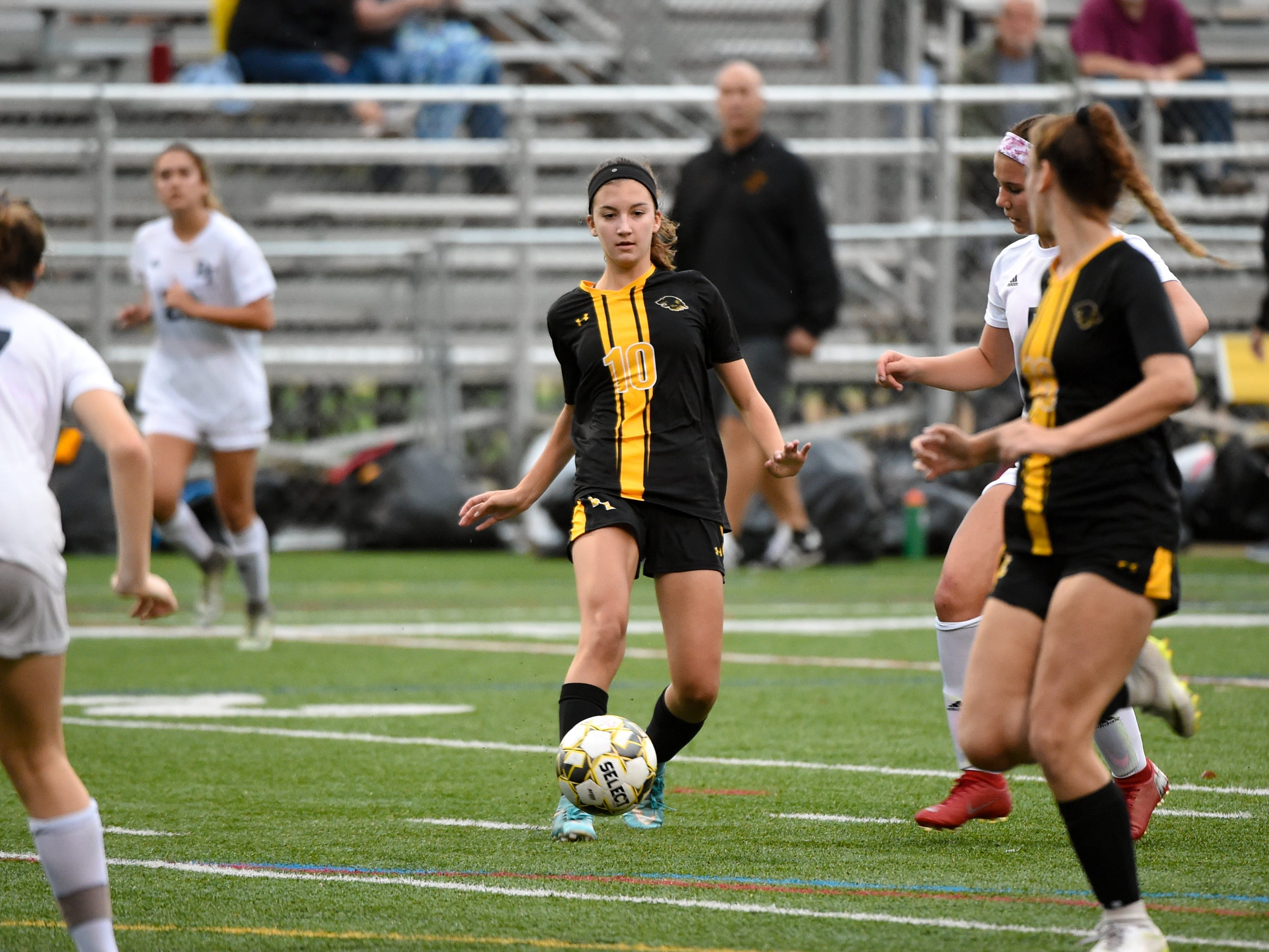 Brooke Wentz (10) rockets a pass to a teammate, during the girls soccer game between Red Lion and Dallastown, October 11, 2018. The Lady Lions beat the Wildcats 4-0.
