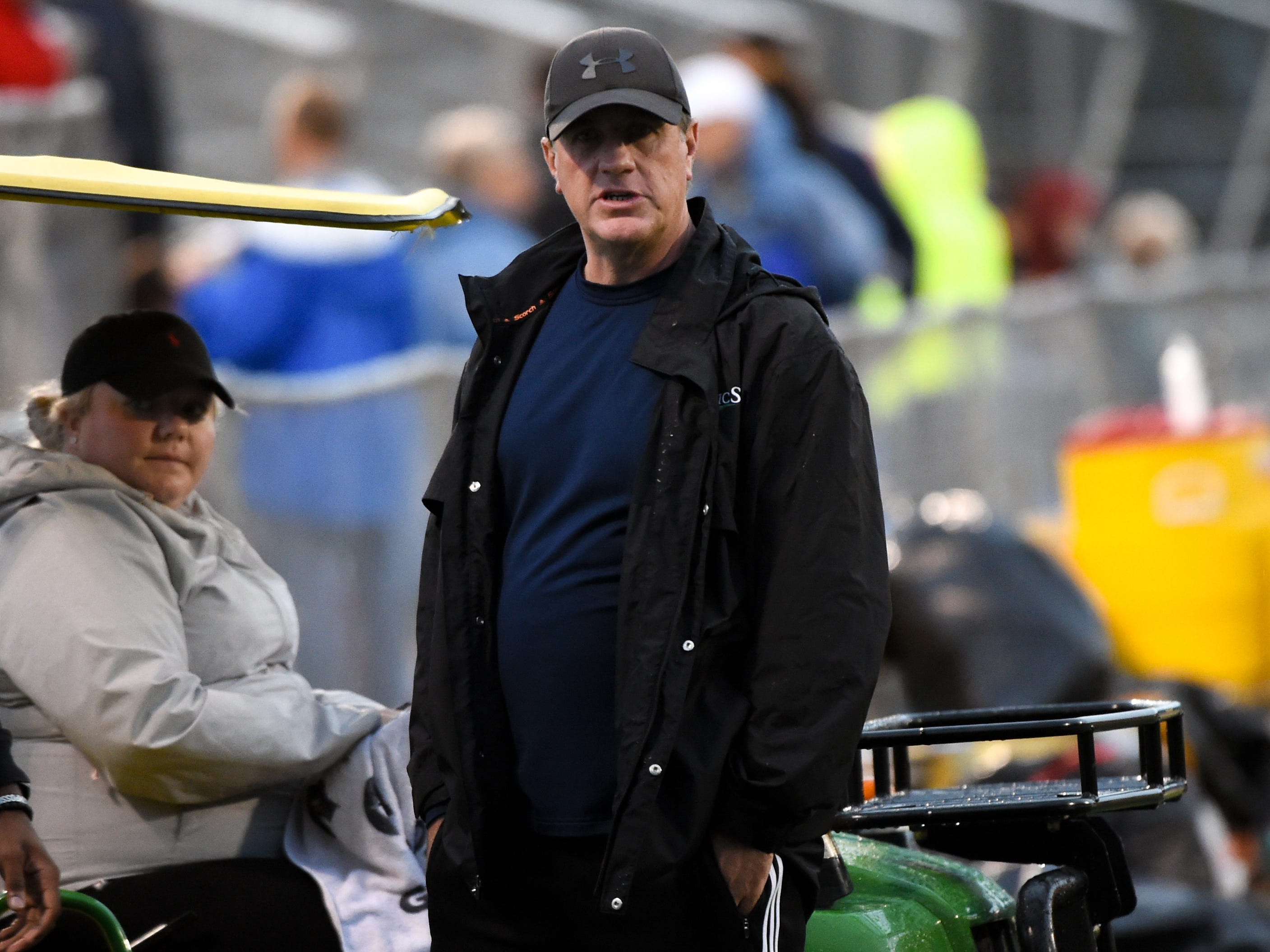 The Red Lion boys soccer coach Mike Watt showed his support during the girls soccer game between Red Lion and Dallastown, October 11, 2018. The Lady Lions beat the Wildcats 4-0.