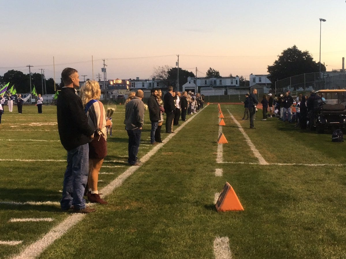 West York's homecoming court is announced before the Bulldogs' game against Kennard-Dale.