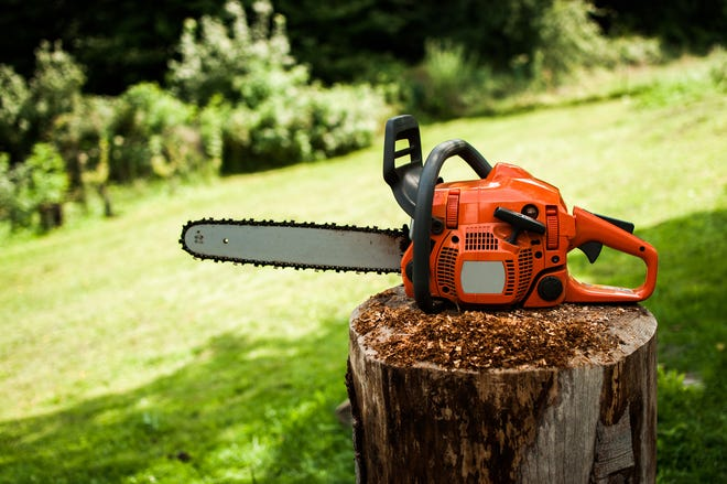 Chainsaw on wooden stomp