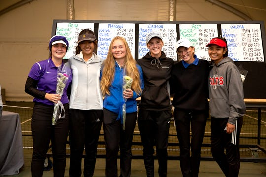 Lily Landt, far right, won the girls golf Northern 4A Regional on Thursday at ArrowCreek. The top six, left to right, Katie Gilbertson, Megan Li, Kaitlin Fleiner, Karen Beglin, Jill Beglin and Landt
