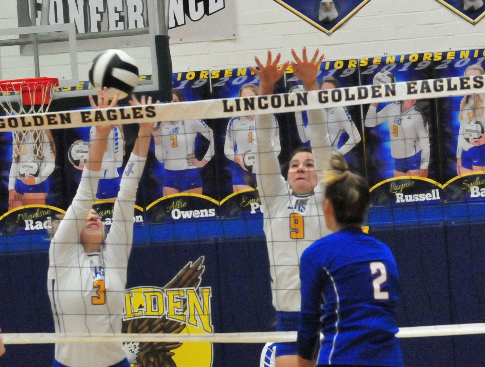 Lincoln's Allie Owens (3) and Laynie Russell (9) during a 3-1 win over Union County Thursday, Oct. 11, 2018.