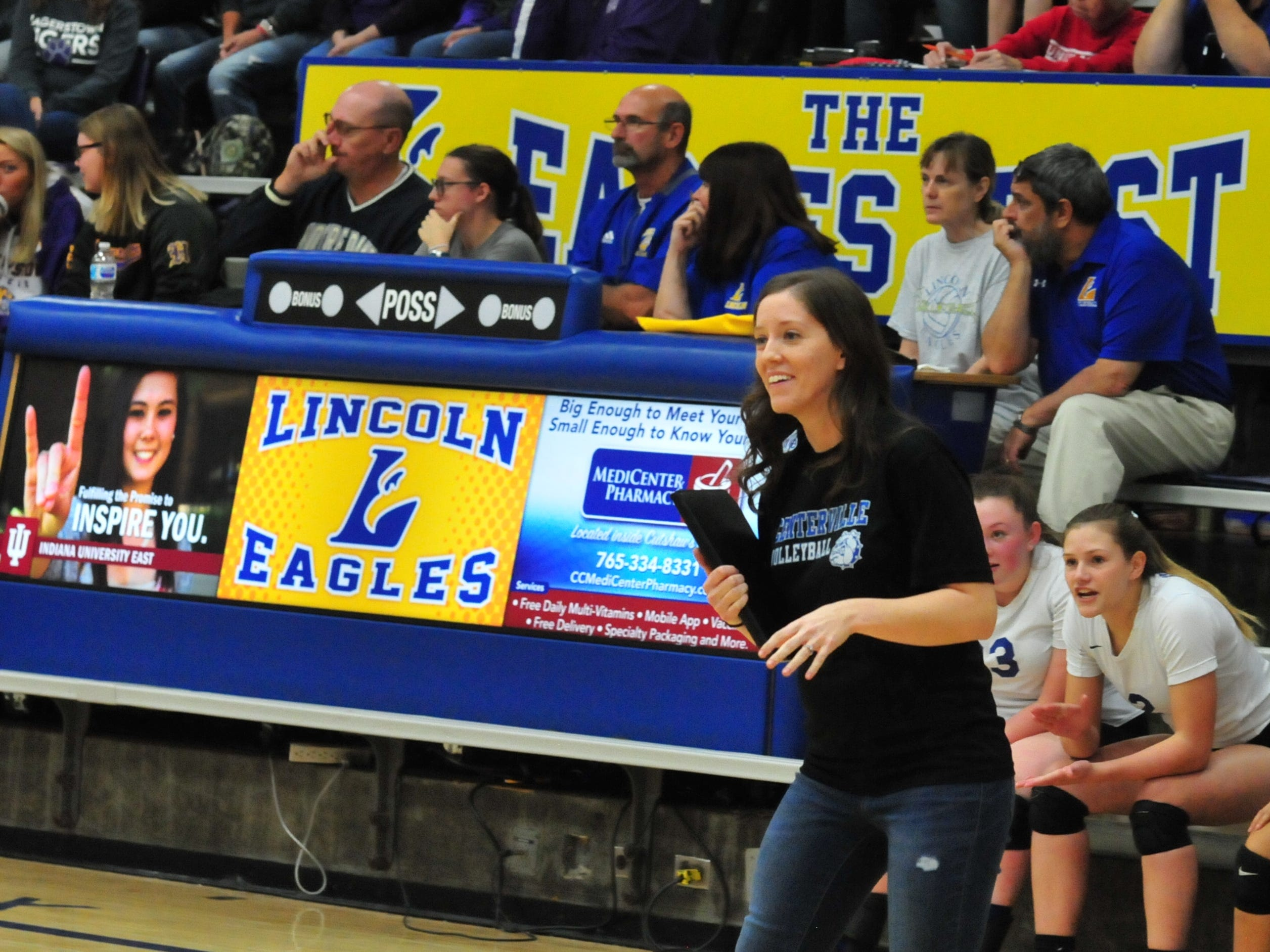 Centerville volleyball coach Stephanie Hornak during a 3-0 loss to Hagerstown Thursday, Oct. 11, 2018.