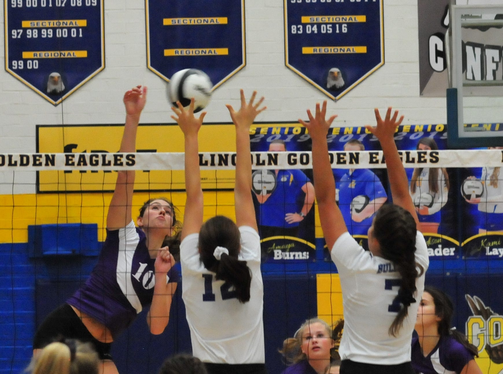 Regan Tinkle (10) of the Hagerstown volleyball team during a 3-0 win over Centerville Thursday, Oct. 11, 2018.