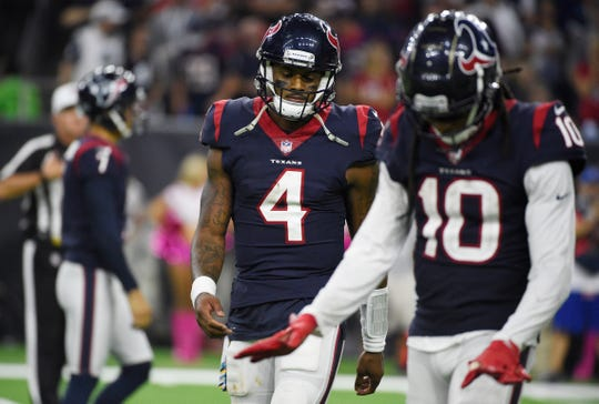 Houston Texans quarterback Deshaun Watson (4) and wide receiver DeAndre Hopkins (10) lead NFL's No. 4 offense against the Buffalo Bills No. 6 defense on Sunday.