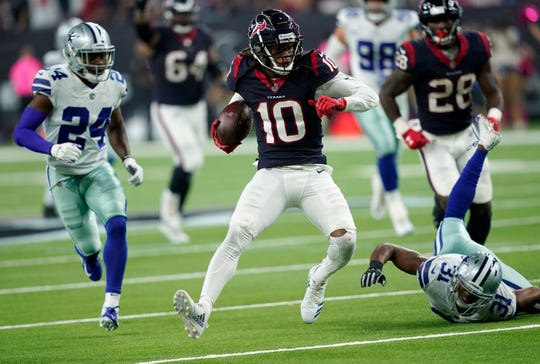 """Houston Texans wide receiver DeAndre Hopkins (10) leads NFL with 594 receiving yards on 39 catches. The former Clemson star, 26, is a """"premier'' talent, said Bills defensive coordinator Leslie Frazier, whose unit led by cornerback Tre White, squares off against Texans' high-powered offense on Sunday."""