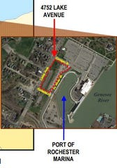 A screen grab from the request for development proposals involving the Port of Rochester shows the 3-acre site.