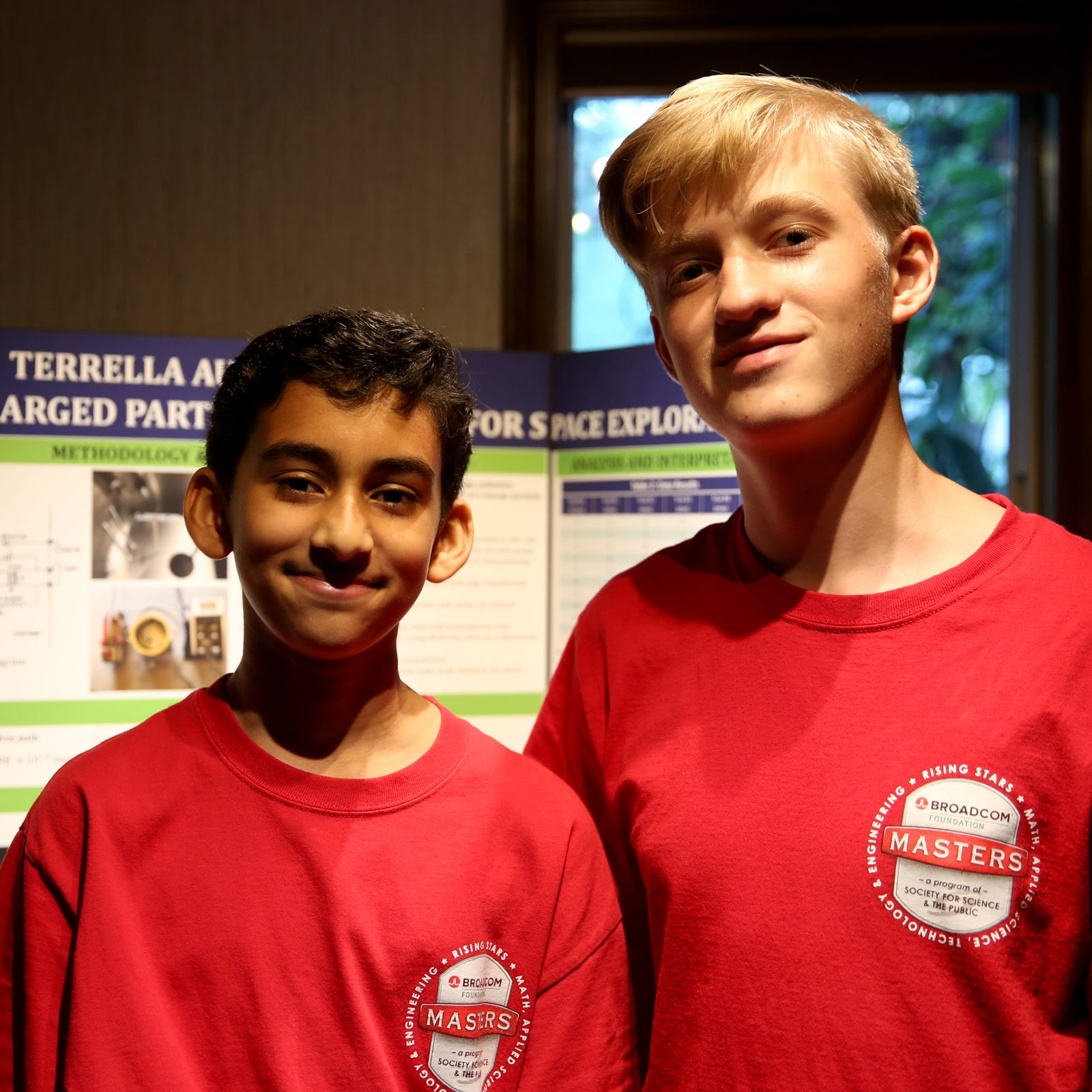 Mihir Joshi, left, a Howard Street Charter School eighth-grader, and John Madland, a Leslie Middle School eighth-grader, are among 30 finalists for the Broadcom MASTERS science competition in Washington D.C. They designed a project to use magnets to shield future missions on Mars from solar radiation. Photographed at Madland's home in Salem on Thursday, Oct. 11, 2018.